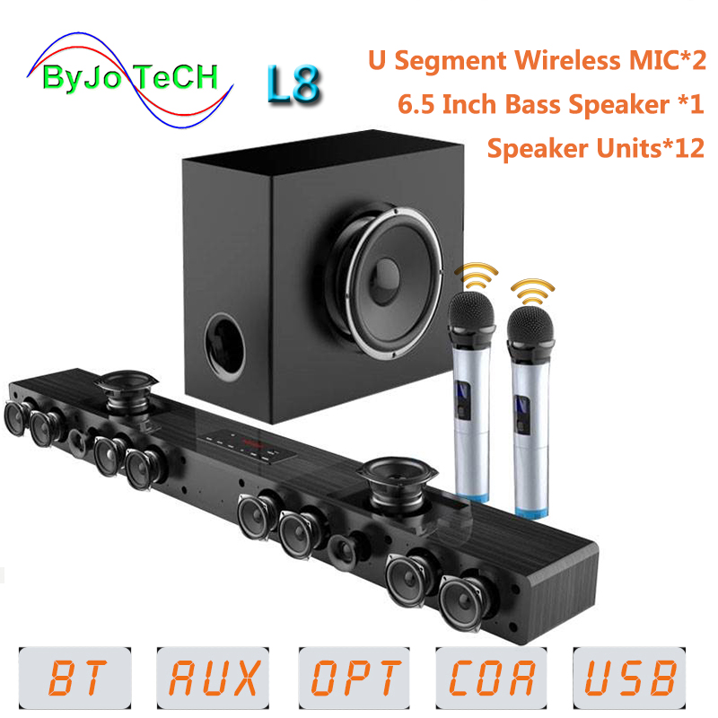 Som de Cinema em Casa Amoi Bluetooth Soundbar Parede Pendurado Madeira Pura tv Alto-falante Subwoofer 3d Surround 12 Alto-falantes l8