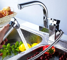 Torneira cozinha. Chrom poliert Messing Doppel Tüllen 360 Grad & herausziehen Küchenarmatur. Küche Hahn-Wannen-Mischer XKX-6005