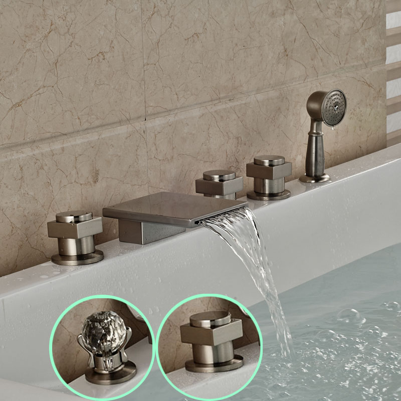 Deck Mount Waterfall 5pcs Waterfall Bathtub Mixer Faucet Roman Tub Filler with Handshower Brushed Nickel oil rubbed bronze waterfall tub mixer faucet free standing floor mount bathtub faucet with handshower