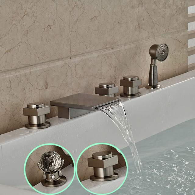 Deck Mount Waterfall 5pcs Bathtub Mixer Faucet Roman Tub Filler With Handshower Brushed Nickel