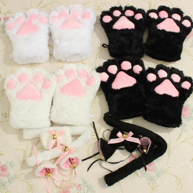 New Arrival 1 Set Cat Ears Plush Paw Claw Gloves Tail Ribbon Anime