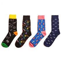 Peonfly meias masculinas algodão penteado jacquard dos desenhos animados música geométrica conforms masculino vestido de negócios tripulação meias presente de casamento sox