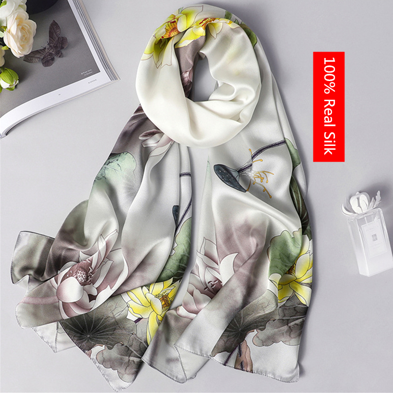 100% real silk scarf women 2020 new fashion shawl and wrap high quality soft long neck scarf for lady elegant floral print scarfWomens Scarves   -