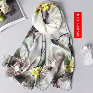 Image 1 - 100% real silk scarf women 2020 new fashion shawl and wrap high quality soft long neck scarf for lady elegant floral print scarf