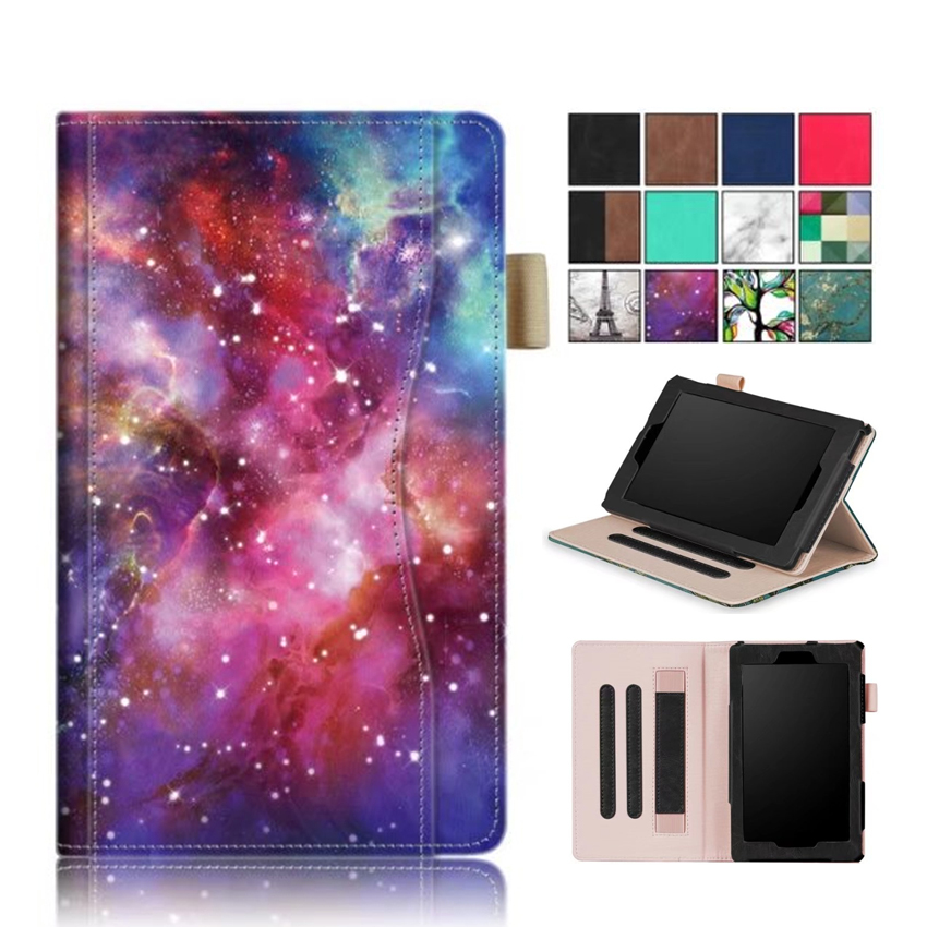2017 New Kindle Fire 7 inch PU Leather Tablet Case Cover Slim Colorful Print Funda For Amazon Fire 7 fire7 2015 Smart Stand Skin for amazon kindle fire hd10 2017 pu leather case cover 10 1 protective stand for amazon new fire hd 10 2015 smart tablet skin