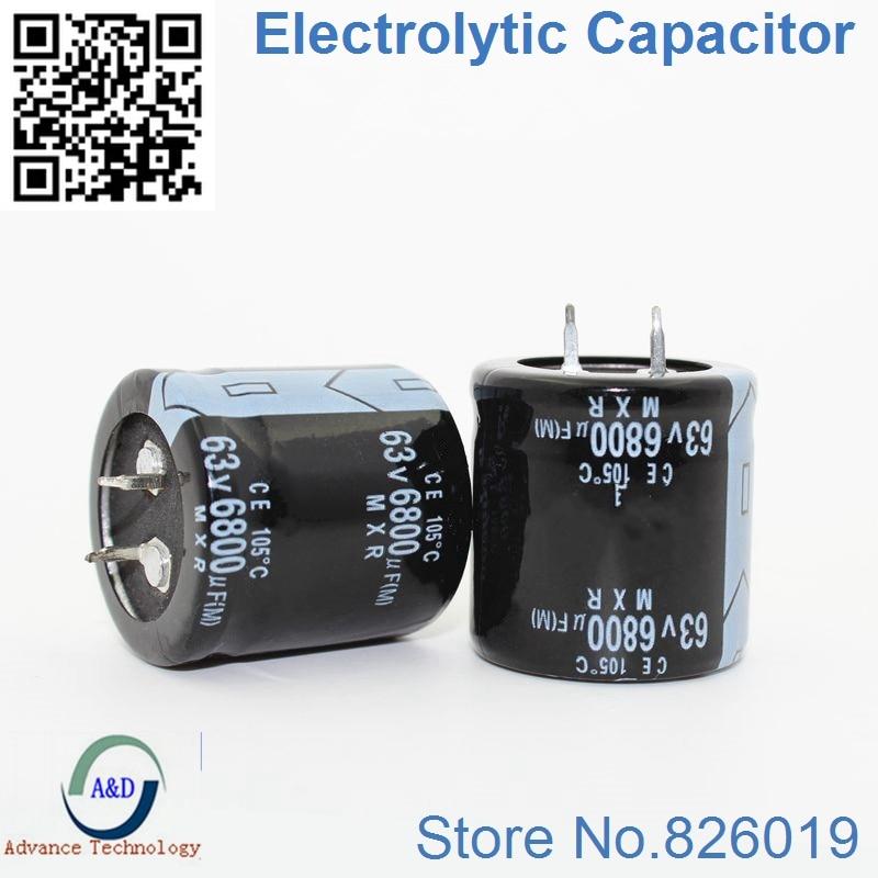 2pcs/lot 63V 6800UF Radial DIP Aluminum Electrolytic Capacitors Size 30*30 30*35mm 6800UF 63V Tolerance 20%