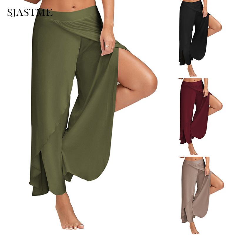 SJASTME Womens Modal Cotton Soft Sportes Dance   Pants   Casual   Wide     Leg     Pants   Split Solid Long Trousers Casual Loose Flowy   Pants