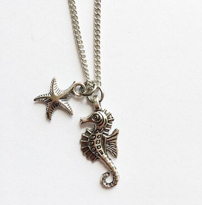02e5ab602336 10 unids lote plata antigua Seahorse Starfish charm Colgantes collar moda  mujeres joyería regalos de vacaciones Accesorios b709