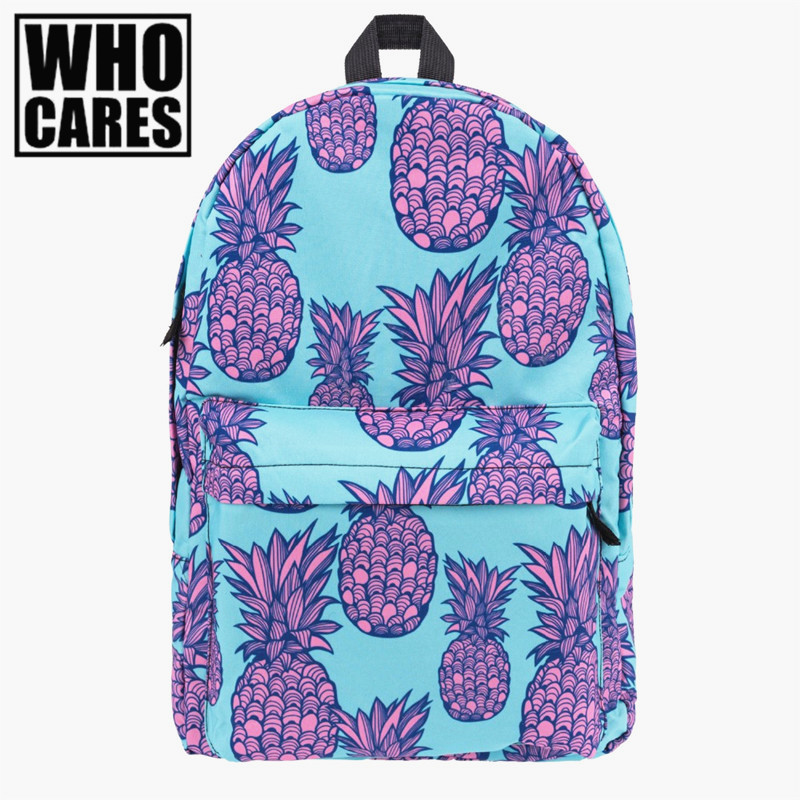 Pink Pineapple 3D Printing backpack women mochila 2017 Fashion Who Cares school bags for teenage girls sac a dos canvas backpack