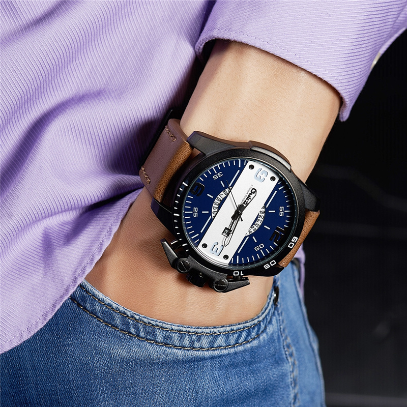 Oulm Neue Design Herrenuhren Luxusmarke Casual Leder Armbanduhr Big Size Sport Männlichen Quarzuhr Relogio Masculino Dinge FüR Die Menschen Bequem Machen Uhren