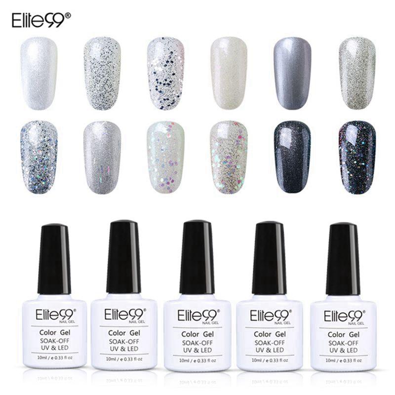Elite99 Soak Off Glitter Pearl Color Nail Polish UV Gel 10ml Lacquer ...