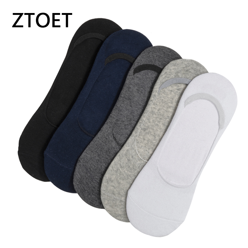 5 Pairs/lot Men's Socks Summer Cotton Large Size 39-48 Breathable Boat Socks Solid Color Invisible Silicone Non-slip