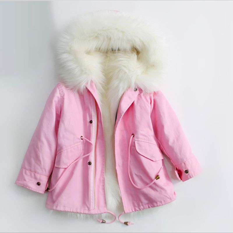 Kids Clothing Boy Girl Winter Coat Thick Warm Imitation Fur Girl Jacket Boy Outerwear Long Section Hooded Children Parka Clothes цена