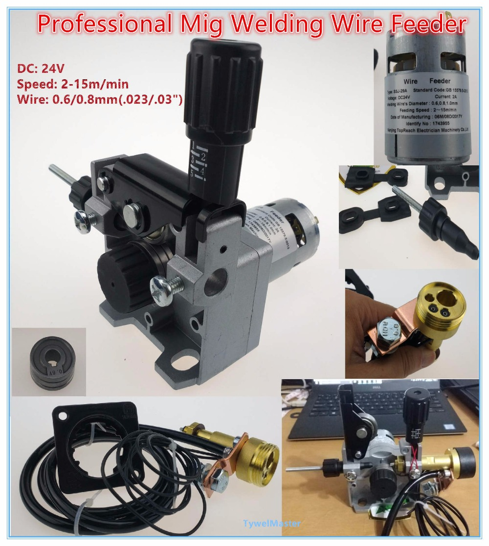 Professional 24V Wire Feed Assembly 0.6-0.8mm/.023-.03(detault) Wire Feeder MIG MAG Welding Machine European Connector EN60974 mig mag welding machine welder wire feeder motor 60zy01 dc24 0 6 0 8mm 1 8 18m min 1pk