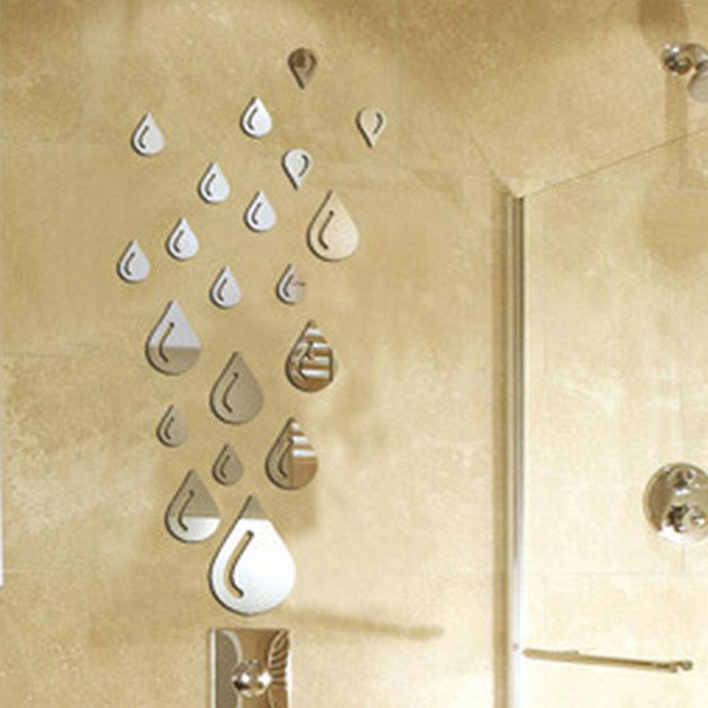 caliente la venta de plata gota de lluvia espejo acrlico pegatinas de pared de bao d