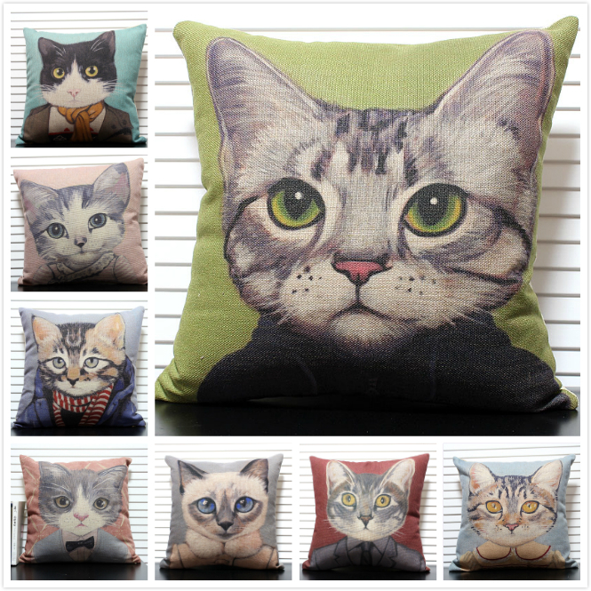 Beautiful Cartoon Cat various designs Linen Cotton Cushion