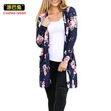 New Ladies Jackets Feminino Blue Causal Jacket Women's Floral Print Blaser Rosa Female Blue Women Suit Office Ladies