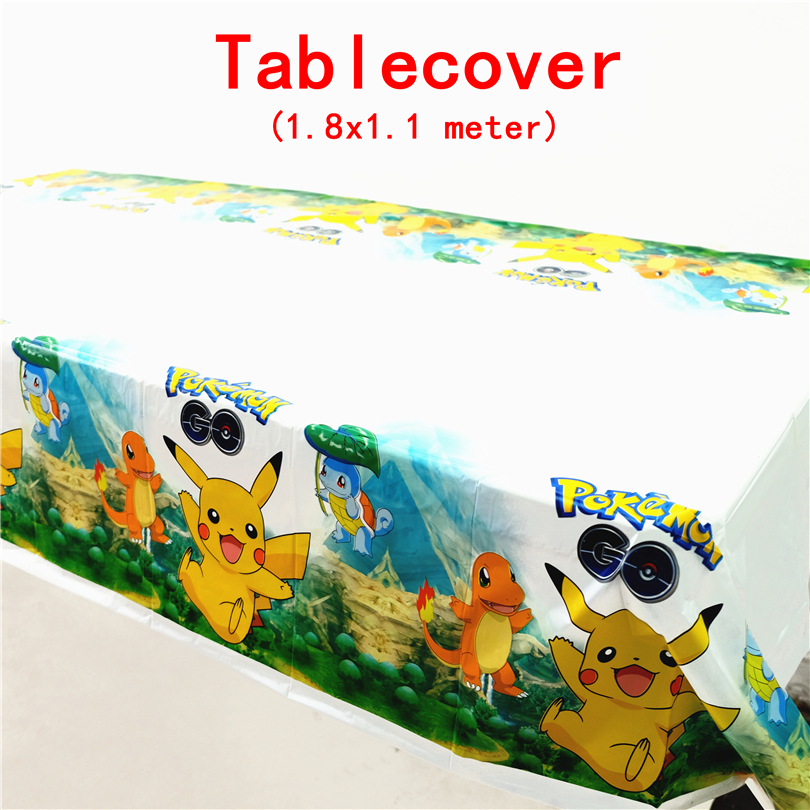 1pcs/lot Disposable Tablecloths Pokemon Go Pikachu Kids Birthday party decoration supply event supplies table cover