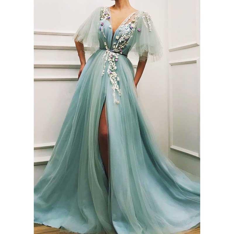 Gorgeous Princess   Prom     Dresses   2019 V Neck Floral 3D Flower Tulle Evening Gowns A Line Plus Size Formal   Dresses   Vestidos Varios