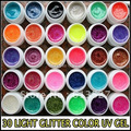Free Shipping - 30pcs colorful UV Nail art Gel with bright Glitter For Nail art Polish