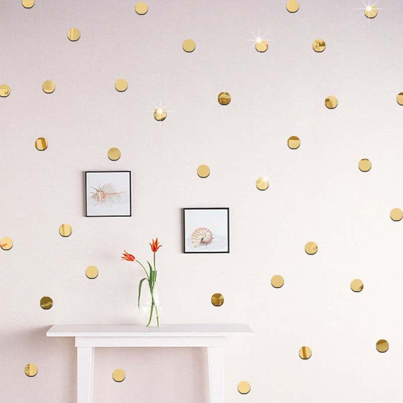 100pcs/set 2cm 3D Acrylic Mirror Dot Wall Stickers DIY Bathroom Home Office Livingroom Decorative Round Shape Stickers 2018 New