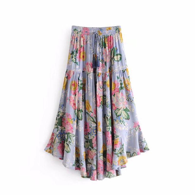 dd36e65b1a02a US $39.5 |Floral Print Boho Chic Hippie Midi Skirt Gypsy Style 2019 Spring  Summer Women Skirts Casual Beach Skirts Saia Female Jupe-in Skirts from ...
