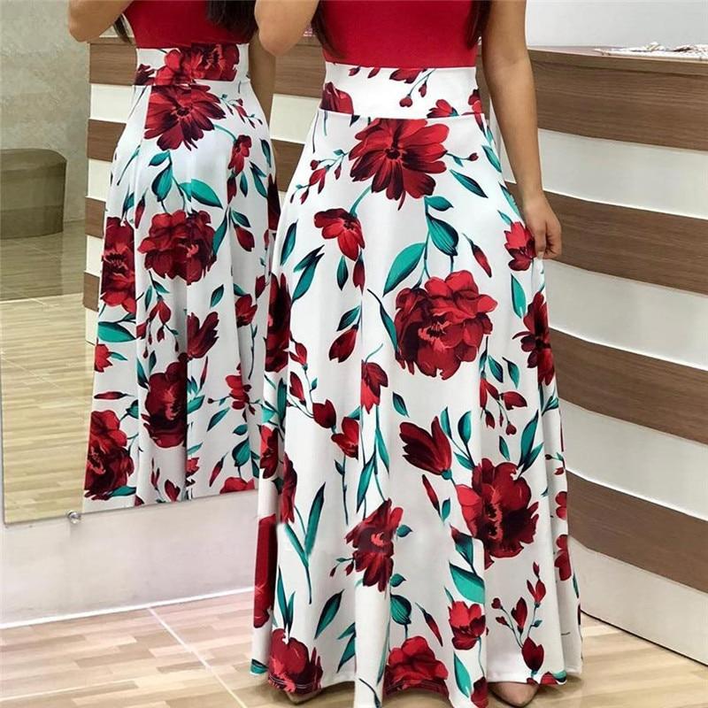 Vintage Floral Print Patchwork Long Dress For Women Short Sleeve