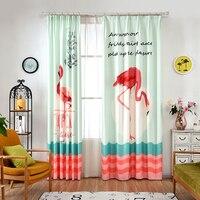 한 패널 동물 인쇄 커튼 침실 북유럽 창 장식 조류 커튼 어린