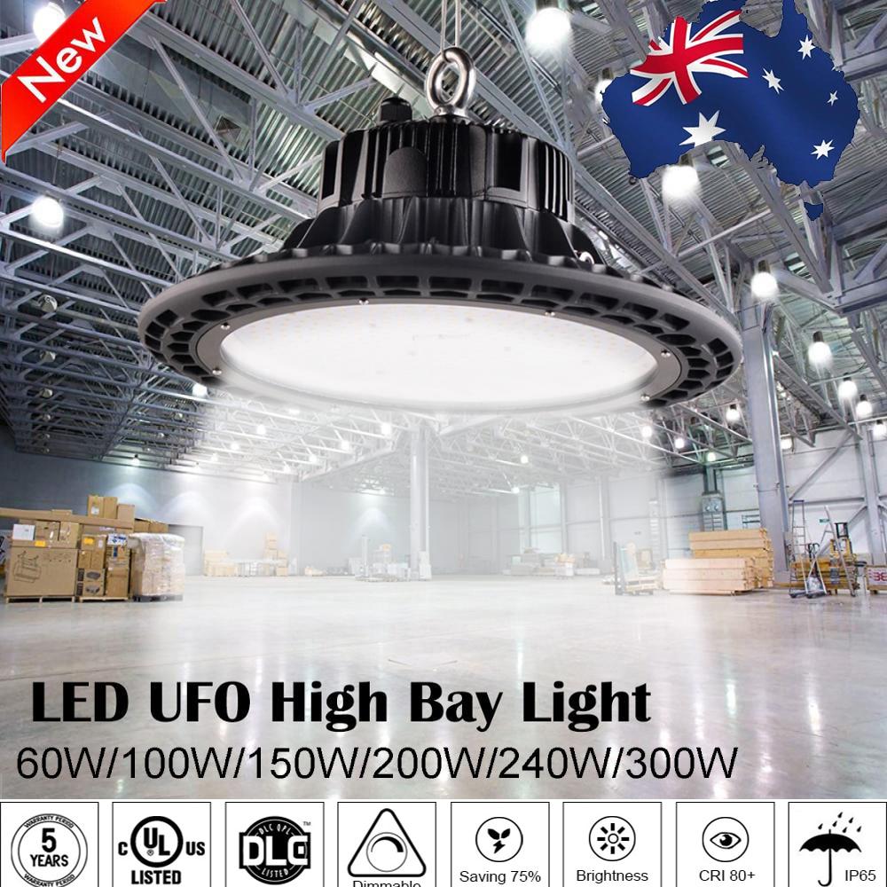 Dlc 240 w ufo led alta baía iluminação 5000 k 31200lumens iluminação industrial iluminação interior luzes da oficina