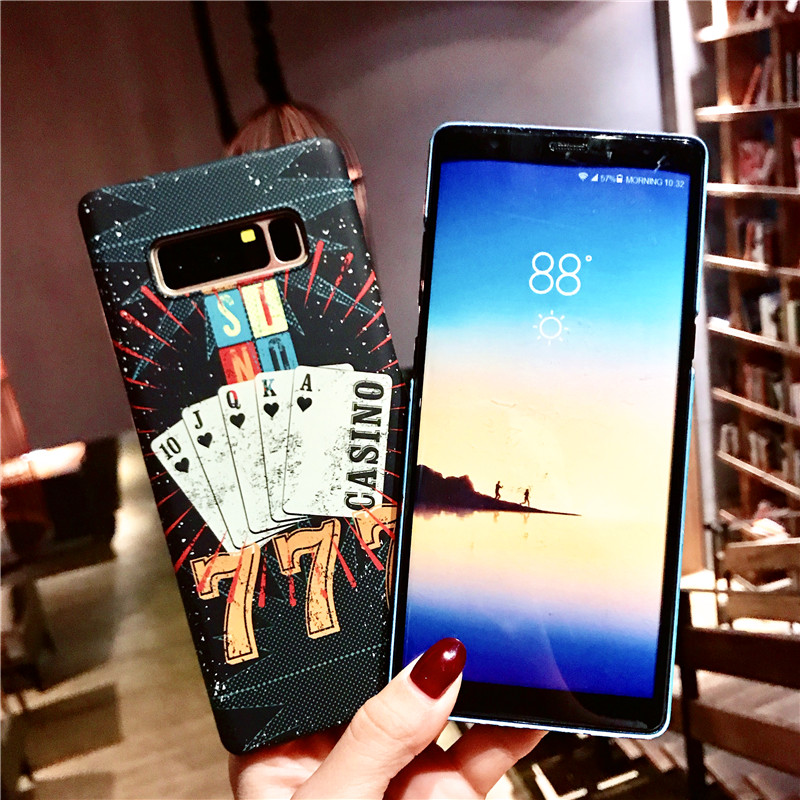 Note 8 S9 S8 Relief Matte Cover for Samsung Galaxy Note 8 S9 S8 Plus Case Poker Pattern Good Touching Hard Cases Bumper 360 Full