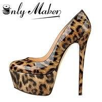 Onlymaker 16cm High Heel Pumps Shoes Women S Fashion Leopard Shoes 5cm Platform Waterproof Sexy Spike