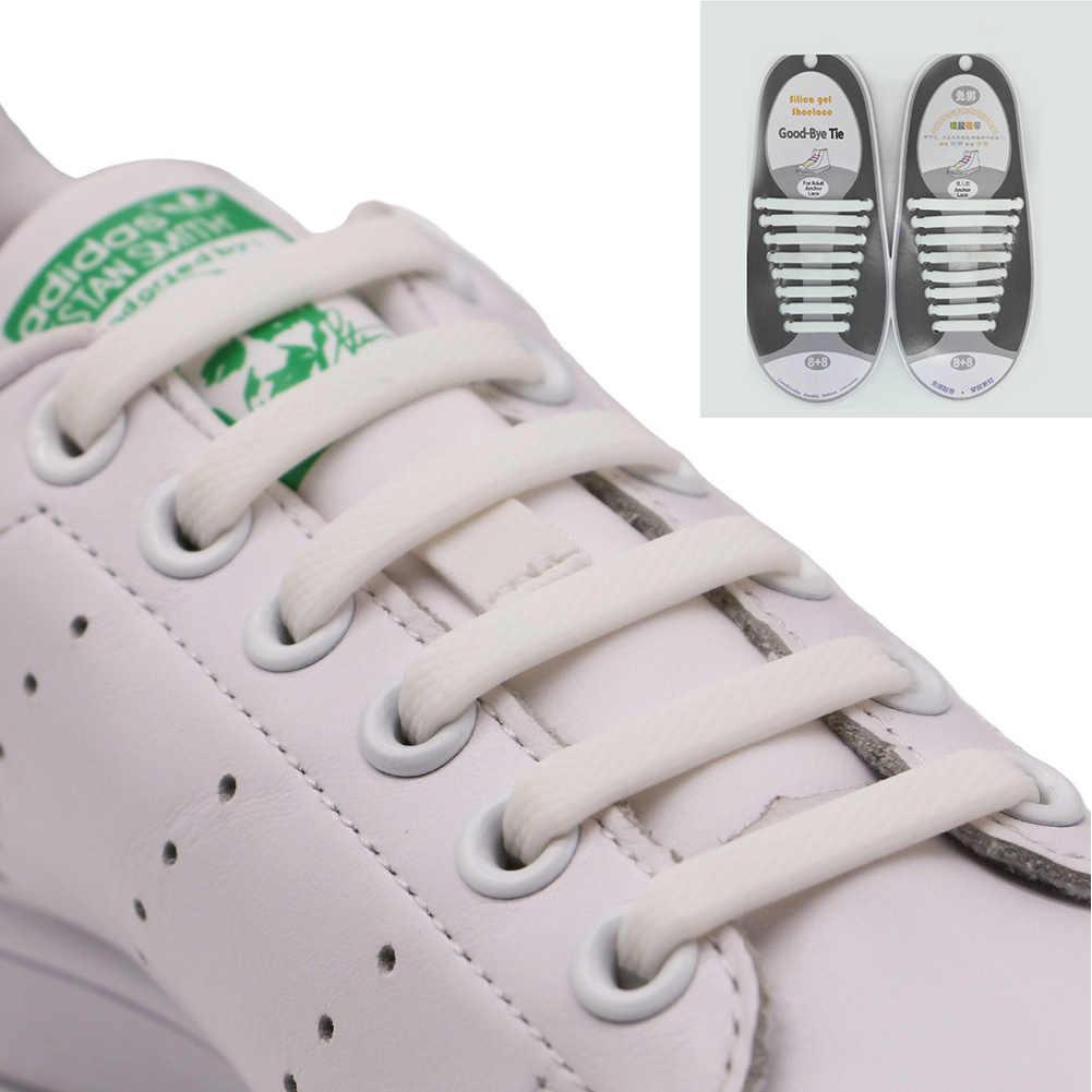 8 пар/компл. силиконовые шнурки для взрослых Многофункциональный Shoelacesal эластичная обувь шнур шнурки без завязок для малышей; ботинки со шнурками; 2019