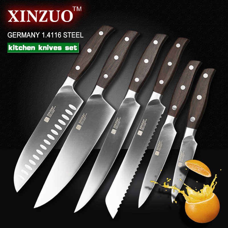 XINZUO kitchen tools 6 PCs kitchen knife set utility cleaver Chef bread knife stainless steel Kitchen
