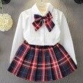Crianças Outfits Meninas Conjuntos de Roupas de Natal Cor Sólida Blusa Xadrez + Saia 2 pcs Outono Criança Roupa Dos Miúdos das Crianças conjuntos