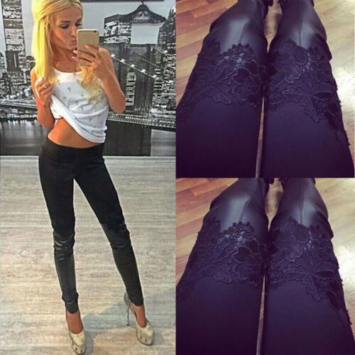 Sexy Fashion Women Skinny Pants Leggings Stretchy High Waist Casual Faux Leather Slim Stretch Lace Solid Sport Pencil Trousers