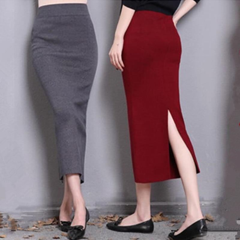 2017 autumn winter high waist midi lenght tight skirt