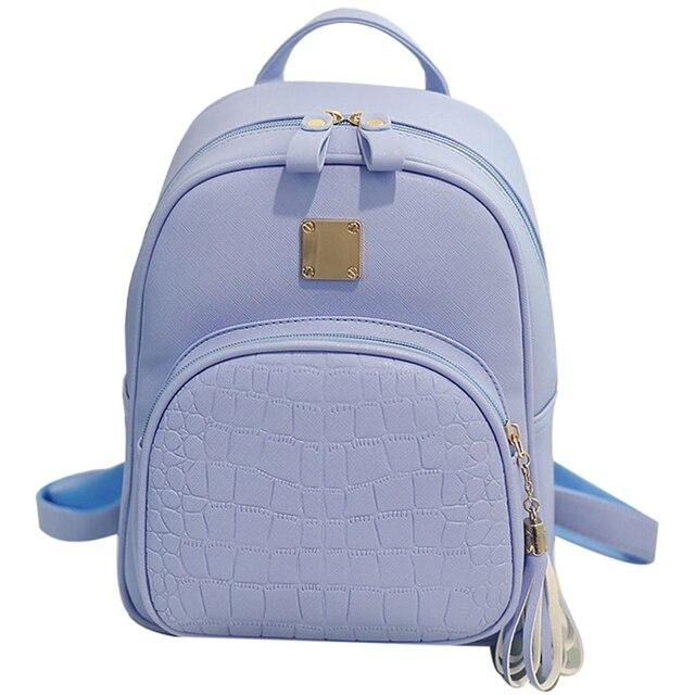 7995c906e6a4 Coofit Mini Female Korean Backpack Fashion Crocodile Pattern Embossed  School Bags For Girls Casual PU Leather