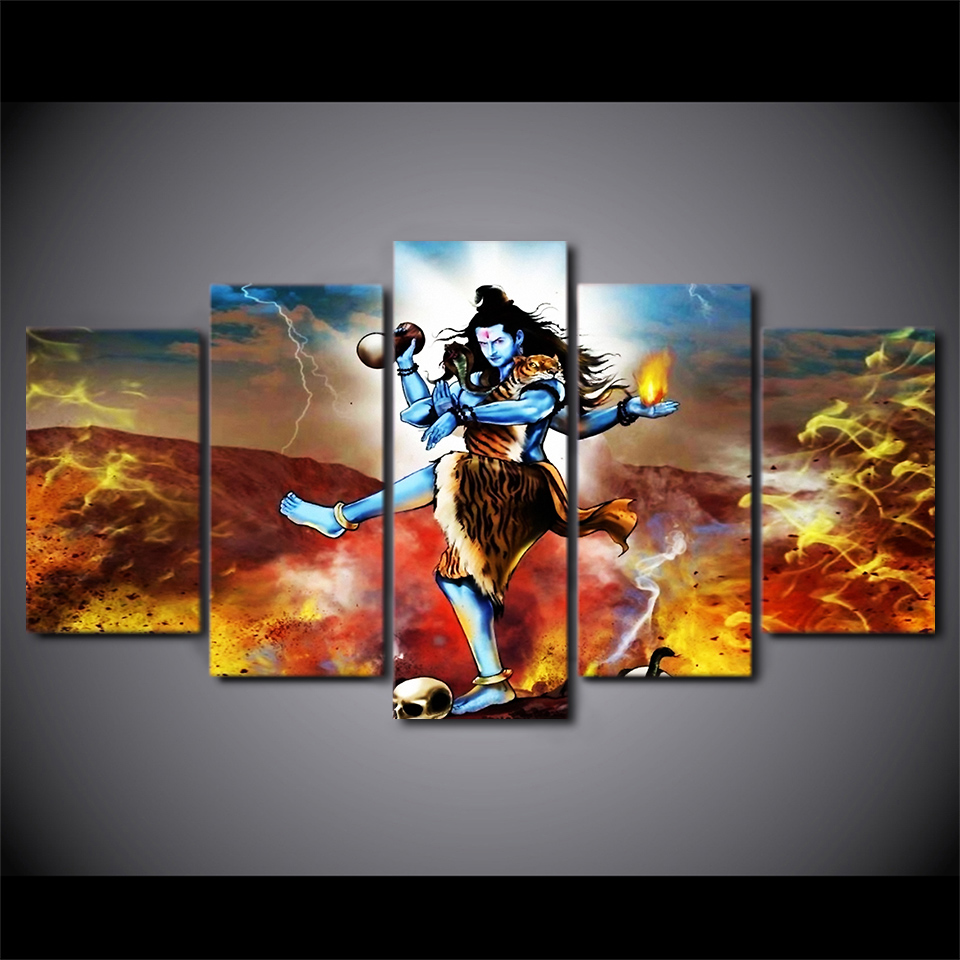 Trusted Home Painting Services In India: 5 Panel Framed HD Printed Indian Mythology Hindu God
