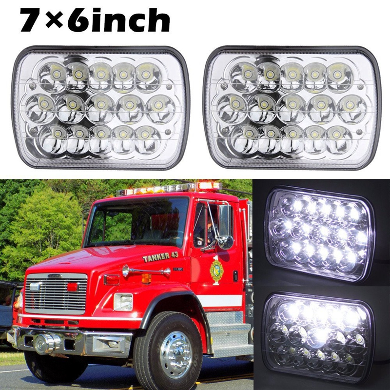 45w Rectangle Led 5x7 7x6 headlights Hi/Low Beam H4 Plug Headlamp Replace H6054 H5054 H6054LL 69822 6052 6053 Pack of 2 5 x7 6 x7 high low beam led headlights for jeep wrangler yj cherokee xj h6054 h5054 h6054ll 69822 6052 6053 with angel eye