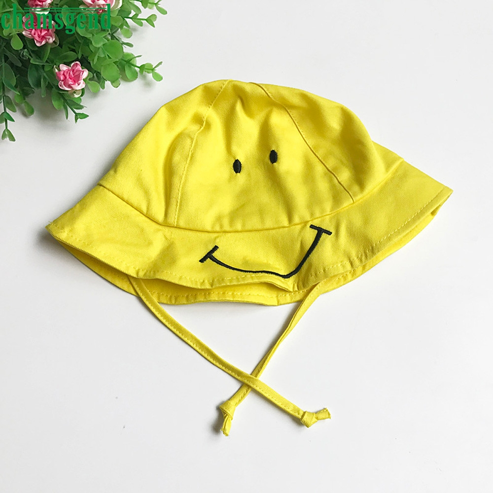 CHAMSGEND Baby Kids Cute Smiling Face Hat Boys Girls Spring Summer Sun  yellow Hat Fisherman Cap gift P30 may15-in Hats   Caps from Mother   Kids  on ... 7ac1d7b6b262