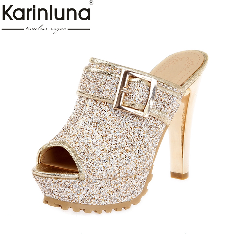 KARINLUNA fashion brand shoes women sexy super high heels slip on peep toe platform party wedding mules pumps woman 2017 woman shoes sexy peep toe platform shoes high heels pumps fashion satin bridesmaids party wedding bridal shoes top quality