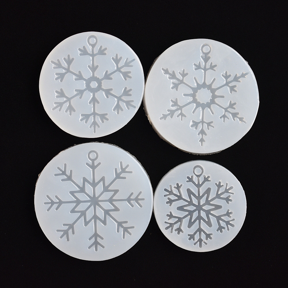 SNASAN 4pieces Silicone Mold For Jewelry Snowflake Charms Pendant Resin Silicone Mould  Handmade Tool  Epoxy Resin Molds