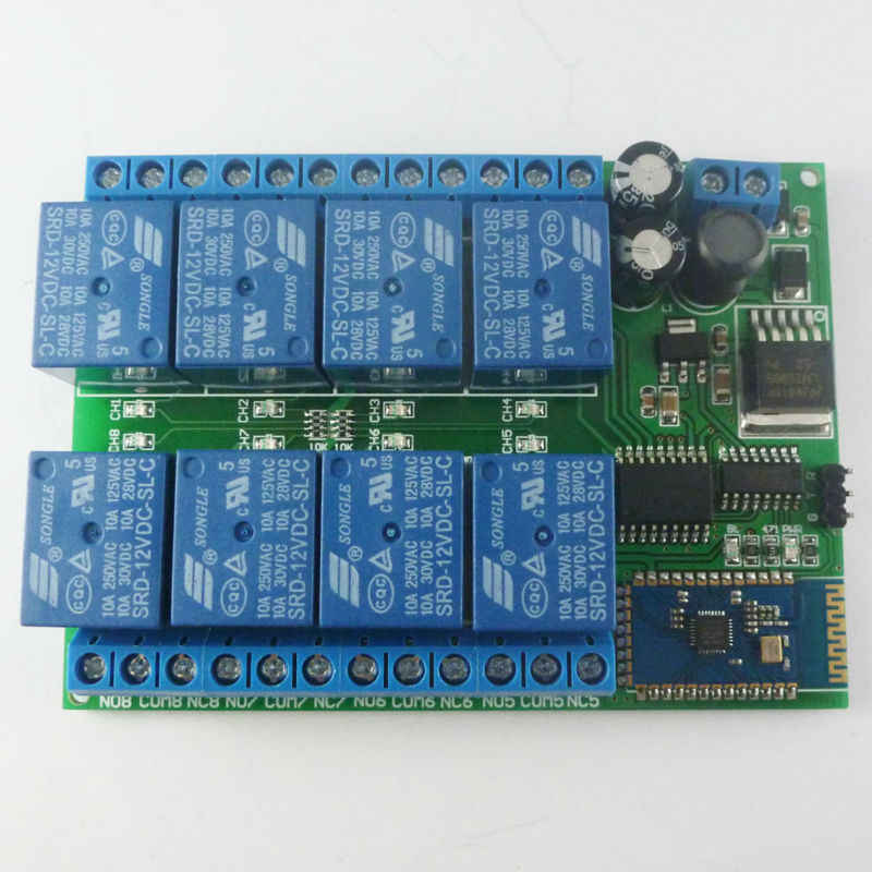 DC 12V 8 Channel Android Phone Bluetooth Control Relay Module for