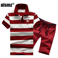 Aismz Men's Summer Sportwear Two Piece Sets Tracksuit Men Moletom Masculino Outwear Sweatshirts Beach Suit Polo Shirt+Shorts