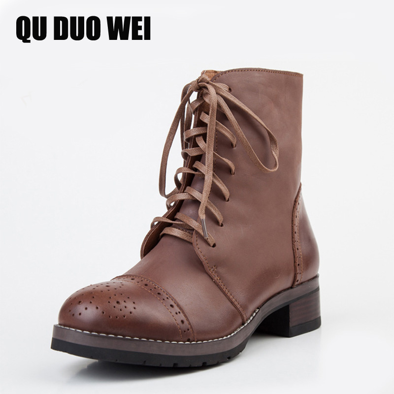 QUDUOWEI Handmade Motorcycle Boots Med Heel Shoes 100% Real Genuine Leather Shoes Retro Martin Boots Botines Mujer Women Shoes new russian laptop keyboard for acer aspire e1 571 e1 571g e1 e1 521 e1 531 e1 531g tm8571 mp 09g33su 698 pk130dq2a04 ru