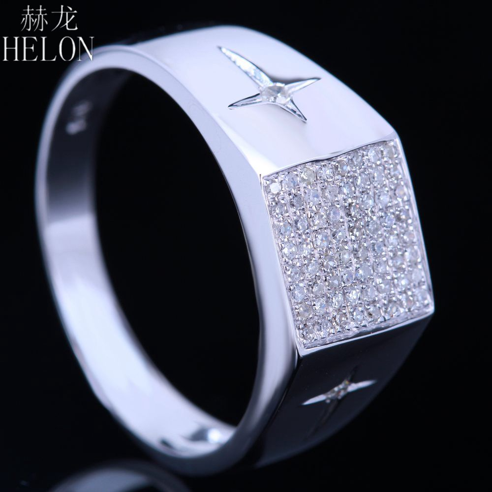 helon solid 10k white gold mens band 03ct natural diamonds pave bezel set engagement wedding fine jewelry diamonds men ring