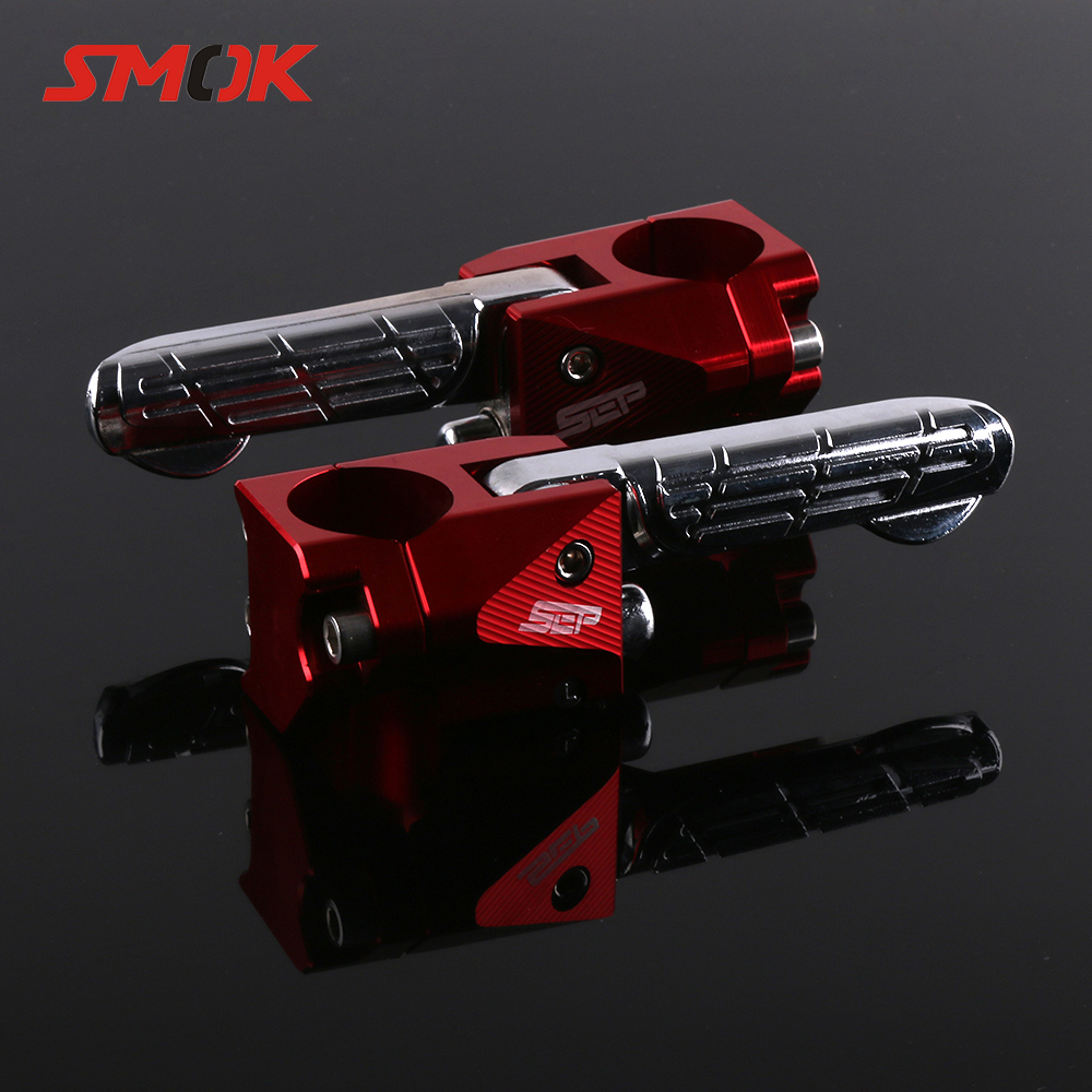 SMOK Motorcycle Scooter Accessories CNC Aluminum Alloy Rear Passenger Foot pegs Pedals Footrest Foot Rest For Yamaha BWS X 125