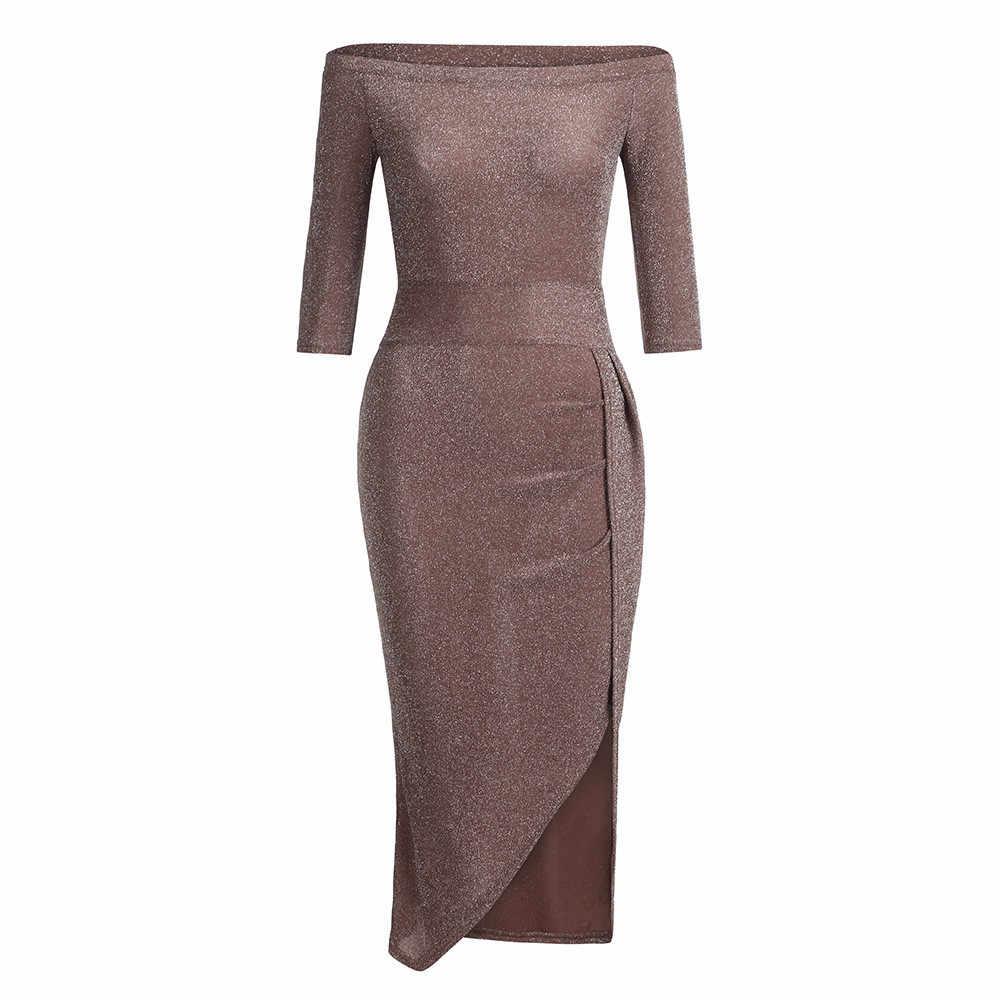 2018 robe noire femmes épaule dénudée moulante femmes robes soirée solide à manches longues tunique Sexy Split robe vestidos 85JK