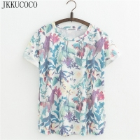 JKKUCOCO Newest Style Women Tops Tee Flowers Leaves Print T Shirt Short Sleeve Casual Shirt Women