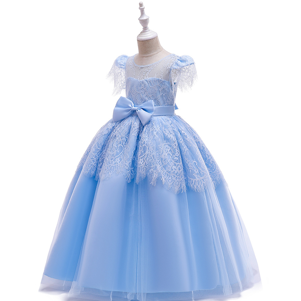 Georous  Ballgown Long Lace Sky Blue  Kids Formal Gown  Birthday Party Dresses Cap Sleeves  First Communion Dresses 2019